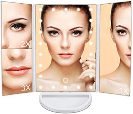 Deal Bonanza Makeup Tri-Fold Vanity Mirror with 2x/3x Magnification,  Has 22 Led Lights, Touch Screen,  180° Adjustable Rotation,  Dual Power Supply,  Countertop Cosmetic Mirror in White