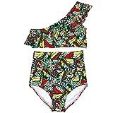 SwimZip Girls 1 Shoulder + High Waist Bottom Swimsuit (2 Piece) | 4T / Butterfly