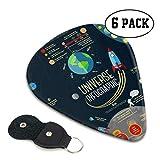 Set Universe Infographics Sistema solar Planetas Púas de guitarra de calidad Soporte para púas de guitarra eléctrica Regalo pesado para bajo, eléctrico, guitarras acústicas, paquete de 6, 0,71 mm
