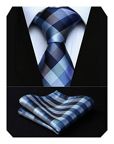 HISDERN Extra Long Check Krawatte Taschentuch Herren Krawatte & Einstecktuch Set Marineblau und Grau