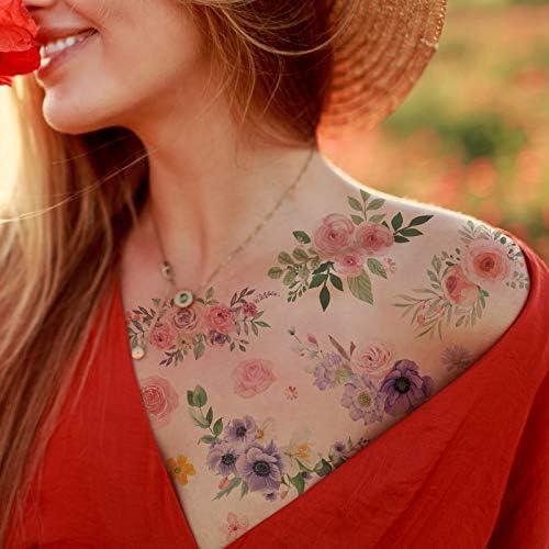 Everjoy Flowers Temporary Tattoos Stickers Watercolor Roses Peony Daisy Botanical Body Art Fake product image