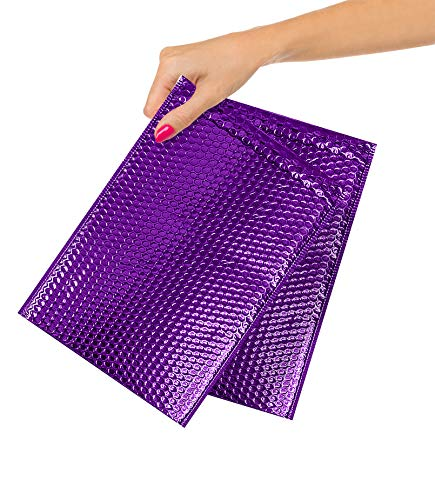 ABC Pack of 10 Purple Metallic Bubble Mailers 6.5 x 10.5. Purple Padded Envelopes 6 1/2 x 10 1/2. Glamour Bubble Mailers. Peel and Seal Envelopes. Mailing Envelopes for Shipping, Packing, Packaging.