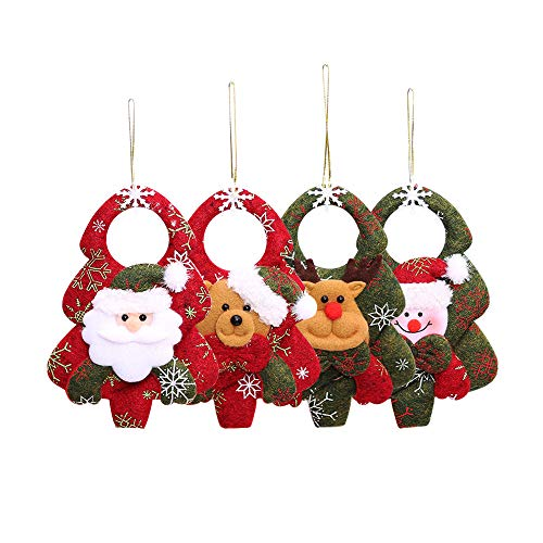 Guanici Christmas tree felt doll Christmas Doll Pendant Ornaments DIY Christmas tree ornaments With lanyard for Home,Christmas Tree,Door,Fireplace Party Supplies 4 Pieces(Santa Claus,Snowman,Elk,Bear)