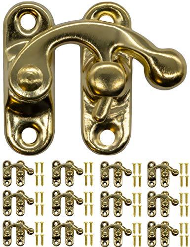 FUXXER® - 12x Antik-Verschlüsse Rast-Haken, Metall-Haken, für Schieber Truhen Wein-Kisten Dosen im Vintage Landhaus Retro Stil, 32x28mm, gold, messing, 12er Set