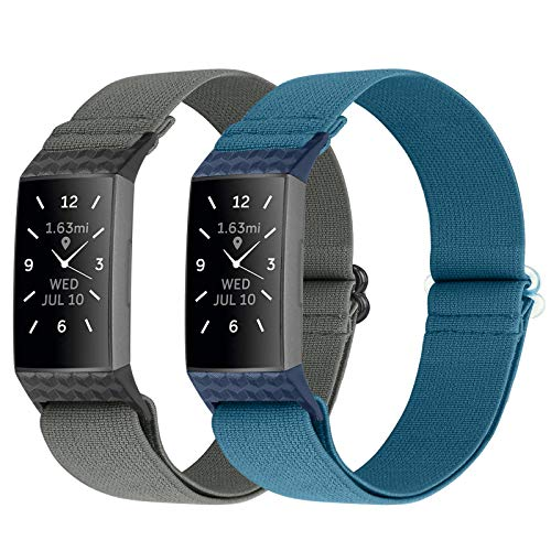 Vodtian Nylon Elastic Watch Band Compatible with Fitbit Charge 4/Charge 3/Charge 3 SE, Adjustable Stretchy Replacement Wristband Accessory Sport Strap for Women Men (Gray+Navy Blue)