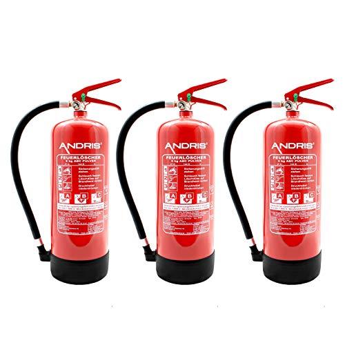 3X Orig. ANDRIS® Feuerlöscher NEU 6kg ABC Pulverlöscher mit Manometer EN 3 inkl. ANDRIS® Prüfnachweis mit Jahresmarke
