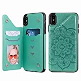 Funda para iPhone 11 con tarjetero, funda de piel de primera calidad con diseño de mandala en relieve con tapa tipo cartera y soporte a prueba de golpes magnético para iPhone 11 verde