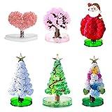 ANLL 6 Pcs Magic Crystal Growing Tree - Christmas Tree, Sakura, Santa Claus, Love Heart – Decoration DIY Toys, Indoor Activities for Kids