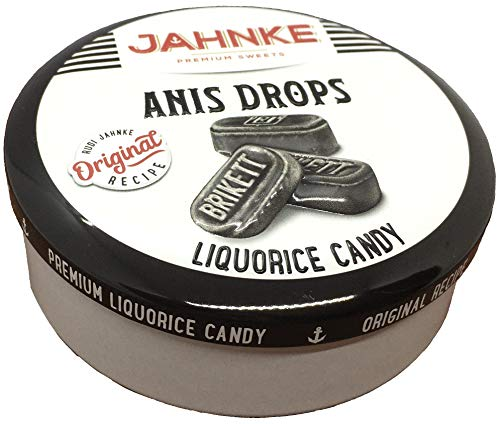 Jahnke Salmiak Drops Lakritz Bonbons in einer Metalldose 135g