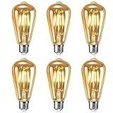 Cytteroa Bombilla LED Edison Vintage, 6 Pieza Vintage Edison Bombilla, Bombillas Vintage Edison LED, Bombilla de Filamento E27, Ideal para Nostalgia y Iluminación Retro en Cafetería, Bar, Casa