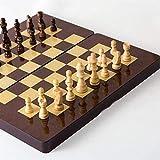 DJRH Juego de ajedrez Internacional con Placa de ajedrez de Madera Plegable y Conjunto de ajedrez de Piezas estándar a Mano clásicas para niños para Adultos para Principiantes de Familia