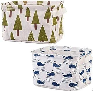 Boîte de Rangement de débris de Surface de Bureau d'art de Toile de Coton boîte de Rangement cosmétique Petit Panier Multi...