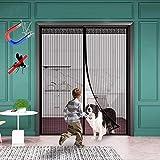 WISKEO Mosquitera Extensible Puertas Magnetica Cierre Magnético Automático Que Cortina Adhesiva Evita el Paso de Insectos Pantalla Dejar Pasar El Aire Cocina Correderas - Negro 140x210CM