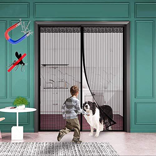 WISKEO Magnet Fliegengitter Balkontür Insektenschutz, Fliegenvorhang Klebemontage Ohne Bohren, Moskitonetz Magnetischer, Verschiedene Größen, Schiebetür Terrassentür - Schwarz 140x200CM