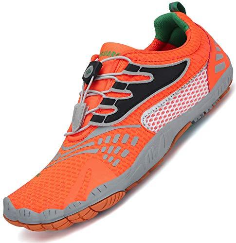 SAGUARO Herren Barfußschuhe Traillaufschuhe Fitnessschuhe mit Weich Dicke Sohle, Schnell Trocknend Badeschuhe Orange C 42