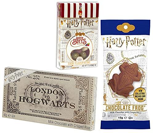 Harry Potter Bertie Botts Bohnen, Schokofrosch und Hogwarts-Zugticket aus Schokolade (35g + 15g + 42g)