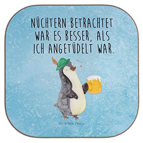 Mr. & Mrs. Panda Geschenk, Frühstück, Quadratische Untersetzer Pinguin Bier mit Spruch - Farbe Eisblau