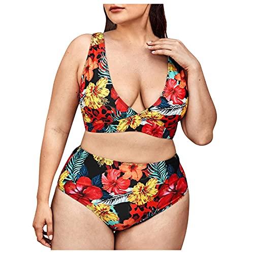 TSPRING Bikini Set Frauen Bikini Set für Mollige Bikini Set für MäDchen Bikini Set Geraffter Bikini Set Glitzer XXXXL rot