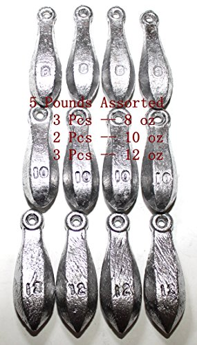 Kathy store INC Bulk Bullet Weights Bank Fishing Sinkers - Assorted Weights (5 LB-8ozoz oz) + Free Small Scissors