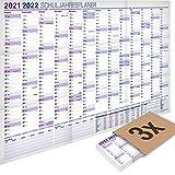 3er-Pack: Yohmoe® XXL Schuljahresplaner 2021/2022 im Format 100x70cm, gefalzt, Jahresplaner Wandkalender 2021 2022 Schule, Schulplaner