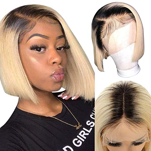 Lace Front Bob Wigs Glueless Straight Human Hair Dark Roots Bleach Blonde Colored Virgin Real Hair 14 inch Long 13x1x4 Lace Bleached Knots with Natural Hairline