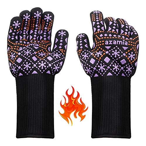 BBQ Oven Gloves, AZAMIA Heat Resistant Cooking Oven Gloves for Barbecue Baking Grilling, Non-Slip Breathable Washable Kitchen Grill Gloves with Nordic Style Snow Pattern, 1472°F-EN407 EN388