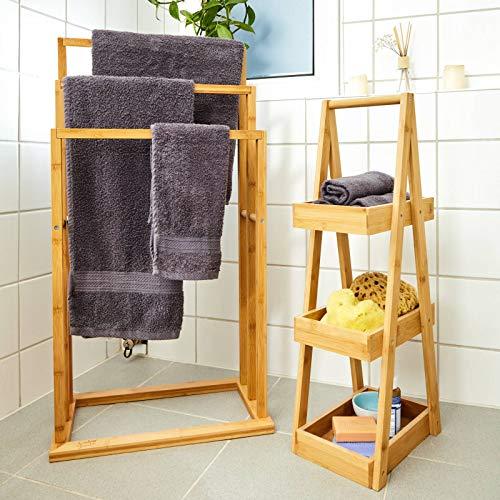 bambuswald© großer Handtuchhalter aus 100% Bambus - umweltfreundlicher & nachhaltiger Handtuchständer mit 3 Handtuchstangen freistehend für Bad BZW. Badezimmer | hübsches Badaccessoire für Handtücher 4