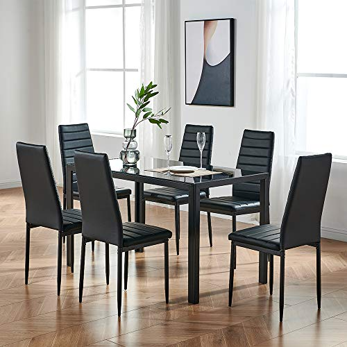 Mecor 7 Piece Glass Kitchen Dining Table Set, Glass Top Table with 6 Faux Leather Chairs Breakfast Furniture, Black