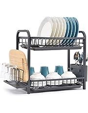 Kingrack Disktorkställ, diskställ 2 nivåer, diskdränerare med droppbrickor, bestickhållare, kopphållare, skärbrädshållare och mini dräneringsbräda, stor diskställ för köksbänk eller handfat