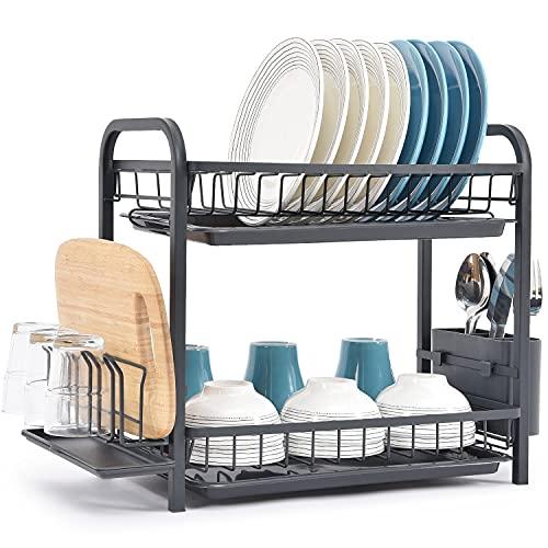 Kingrack Estante de secado de platos,estante de 2 niveles,escurridores de platos grande con bandejas de goteo,soporte de cubiertos,soporte de vaso,soporte para tabla de cortar y mini tabla de drenaje