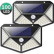 Solarleuchte für Außen,[Erweiterte Version -2 Stück] Kilponen 100 LED Solarlampen Außen mit Bewegungsmelder [2200mAh] Superhelle Solarlicht 270°Solar Beleuchtung Wasserdichte 3 Modi für Garten