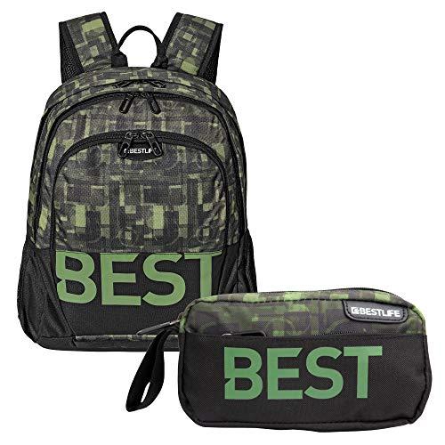 """BESTLIFE Mochila y estuche en un set """"TASKU"""" mochila escolar, para el tiempo libre con compartimento para el portátil hasta 15,6 pulgadas (39,6 cm), negro/verde"""