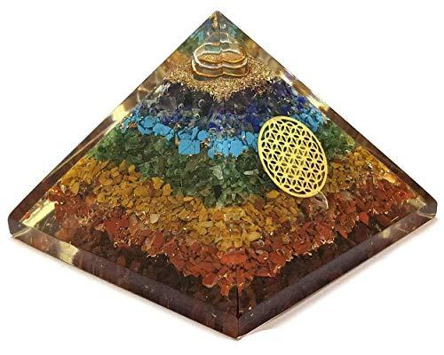 Real Crystal Store Seven Chakra Orgone Pyramid - 7 Chakra Orgonite Pyramid Energy Healing Crystals and Stones Emf Protection Pyramid Yoga Meditation Energy Generator Chakra Crystals - Gemstones Set