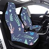 2 piezas Set Xl Protector de asiento de coche Ocean Jellyfish Sea Star Protectores de asiento de coche Compatible para Airbags Ajuste universal para automóviles Camiones y SUV Fundas de asiento de cu