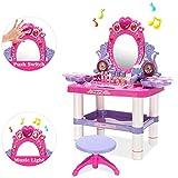 ZZAZXB Centro de Belleza, 2 en 1 Juego de Tocador Juegos Set con Luces Sonido, Taburete, Espejo y Accesorios, Perfecto para Regalo de Cumpleaños para Niñas