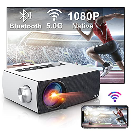 Artlii Enjoy 3 Portable Native 1080P 5G WiFi Bluetooth Projector, Full HD Movie Projector Supports Zoom & Keystone, Compatible with TV Stick/iOS/Android/PS4/PPT/HDMI/USB