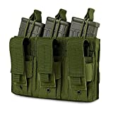 Obemisk Triple Molle Mag Pouch, Pistol Magazine Pouch Open Top Tactical Rifle Pouch for M4 M16 AK AR Magazine Glock M1911 92F 9mm, Green