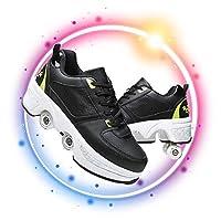 スケートホイール格納式多機能変形シューズローラーシューズスケートガールズボーイズホイールシューズユニセックスアダルトキッズアウトドアスポーツシューズビギナーズギフト,Black green,37
