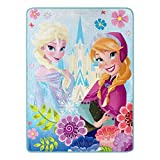 Disney Frozen, 'Floral Fjord' Micro Raschel Throw Blanket, 46' x 60', Multi Color, 1 Count