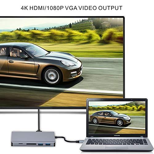 ABLEWE 11 in 1 USB C Hub Adapter Type C Hub Station mit 4K HDMI,VGA,PD-Ladeanschluss,SD/TF Kartenleser,4 USB Ports,RJ45 Ethernet-Port und 3,5mm Audio Type C-Docking für mehr Typ C Geräte