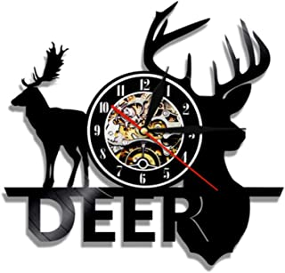GYJCD Woodland Deer Hunter Clock Forest Wild Moose Head Vinyl Record Reloj De Pared Deer Antlers Reloj Decorativo De Pared