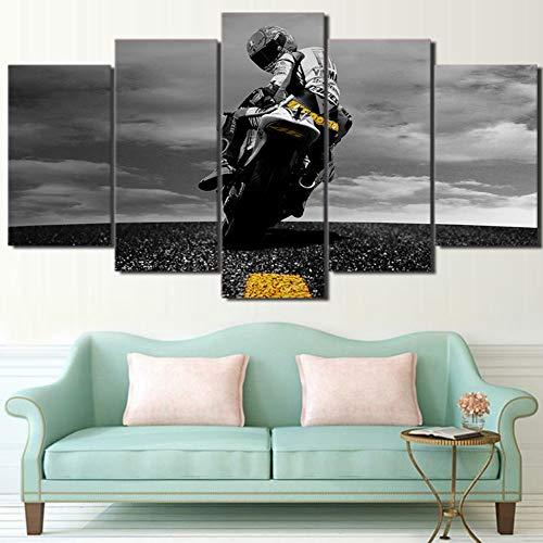 BOYH Drucke auf Leinwand 5 Panel Valentino Rossi Moto Sports Motorrad Dekor druckt Poster Wandkunst,B,30×50×2+30×70×2+30×80×1