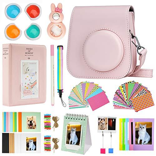 Cpano Mini 11 Paquetes de Accesorios de cámara para FujiFilm Instax Mini 11 con Estuche de cámara/álbum de Libro/Selfie len/Marcos para Colgar en la Pared/Pegatinas/lápiz(13 en 1 (Rosa)