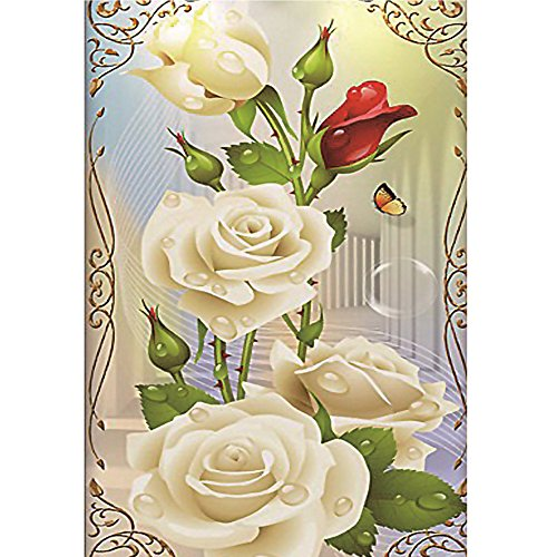 sunnymi 5D Diamant Malerei Weiss Rose Deluxe Edition Rechteck DIY Stickerei Painting Kreuzstich Diamond Dekoration (30x40cm)