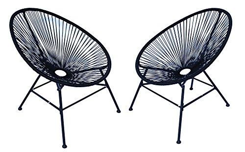 Lounge Sessel Veracruz | Acapulco Stuhl | 2er Set Schwarz | Gartensessel | Gartenstuhl | Witterungsbeständig | Sitzfläche aus Polyrattan |...