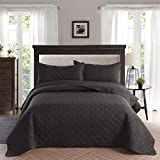 Exclusivo Mezcla 3-Piece King Size Quilt Set with Pillow Shams, as Bedspread/Coverlet/Bed Cover(Grid Weave Black) - Soft, Lightweight, Reversible& Hypoallergenic