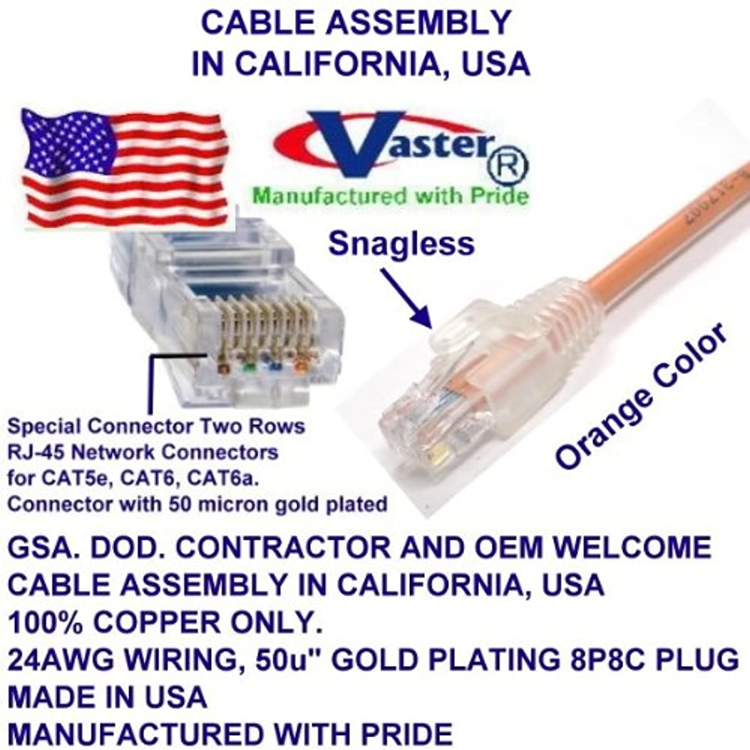Made in USA, 9 ft, Cat5e Ethernet Patch Cable - RJ45 Computer Networking Cord - Orange