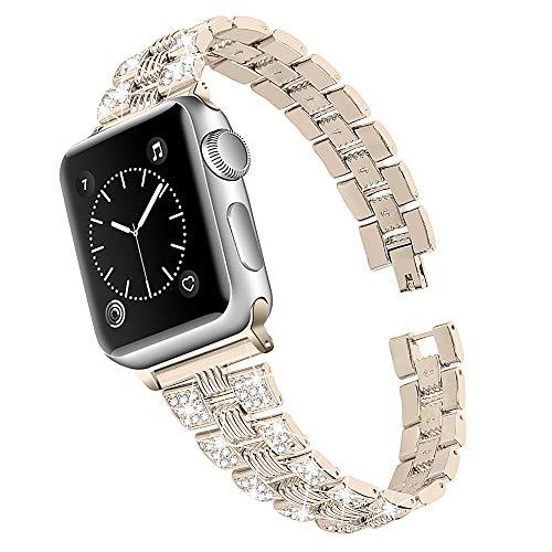 CHENPENG Correa Compatible con Apple Watch Correa de Reloj de Acero Inoxidable, Pulsera de Metal de Repuesto de Diamantes de imitación, para Hombre Mujer,Vintage Gold,38mm