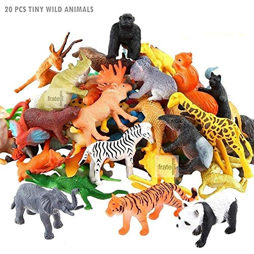 FRATELLI Animal Play Sets-Realistic Vinyl Plastic Animals-Non-Toxic (Set of 20 Zoo Wild Animals Figures Toys for Kids , Animal Toy Set Play for Kids)