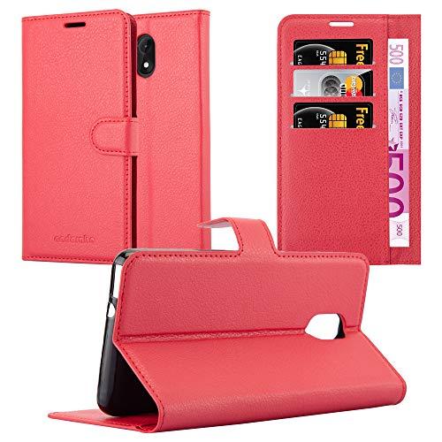 Cadorabo Hülle für WIKO Lenny 5 in Karmin ROT - Handyhülle mit Magnetverschluss, Standfunktion & Kartenfach - Hülle Cover Schutzhülle Etui Tasche Book Klapp Style